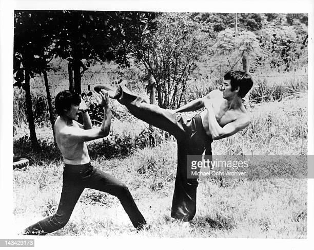 Bruce Lee demonstrates his karate/ Kung fu skills in a scene from the film 'The Chinese Connection' 1972