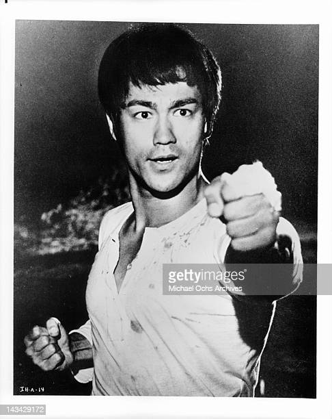 Bruce Lee demonstrates the technique of Kung fu in a scene from the film 'The Chinese Connection' 1972