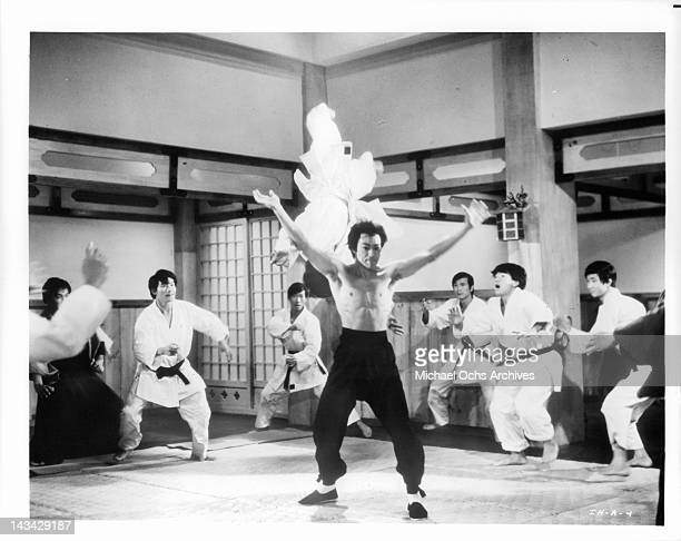Bruce Lee displays his unique karate/ Kung fu skills in a scene from the film 'The Chinese Connection' 1972
