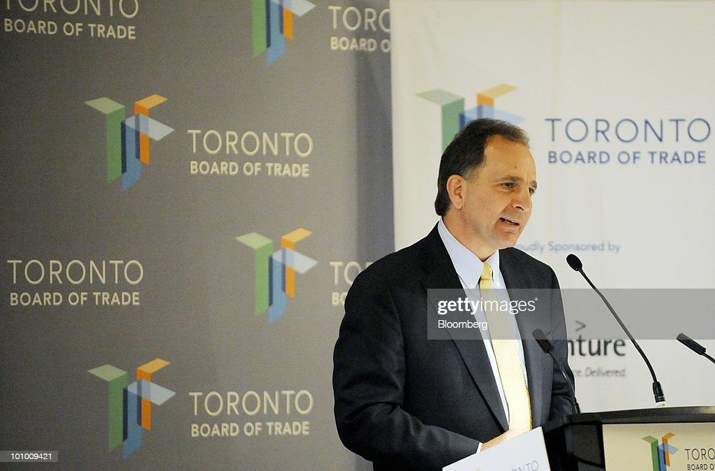 Bruce March, chief executive officer of Imperial Oil Ltd., speaks at a Toronto Board of Trade luncheon in Toronto, Ontario, Canada, on Wednesday, May 26, 2010. March said he sees opportunity in using nuclear power for oil-sands development. Photographer: Aaron Harris/Bloomberg via Getty Images