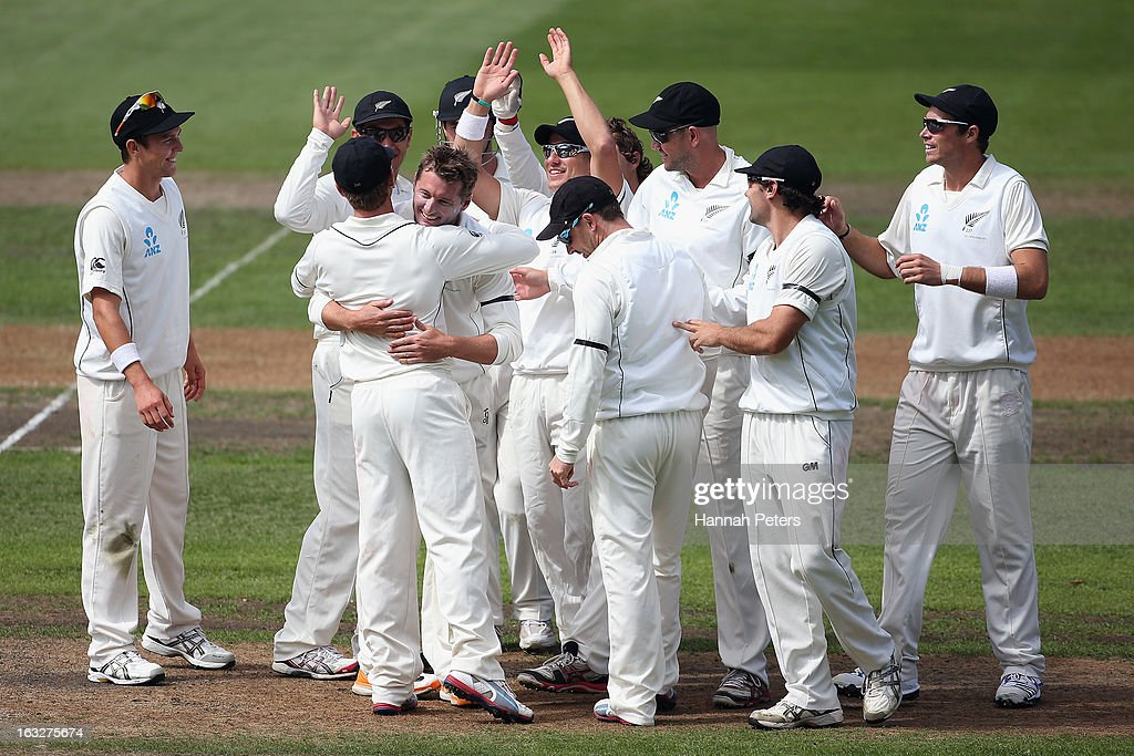 Bruce Martin celebrates his first test wicket of Matt Prior of England during day two of the First Test match between New Zealand and England at University Oval on March 7, 2013 in Dunedin, New Zealand.