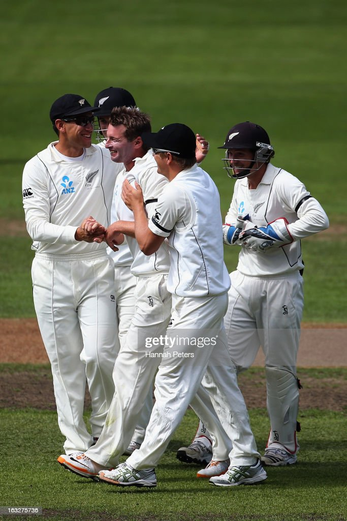 <a gi-track='captionPersonalityLinkClicked' href=/galleries/search?phrase=Bruce+Martin&family=editorial&specificpeople=226565 ng-click='$event.stopPropagation()'>Bruce Martin</a> celebrates his first test wicket of Matt Prior of England during day two of the First Test match between New Zealand and England at University Oval on March 7, 2013 in Dunedin, New Zealand.