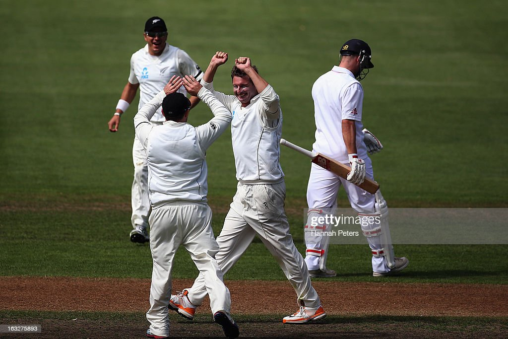 Bruce Martin celebrates his second test wicket of Jonathan Trott of England during day two of the First Test match between New Zealand and England at University Oval on March 7, 2013 in Dunedin, New Zealand.