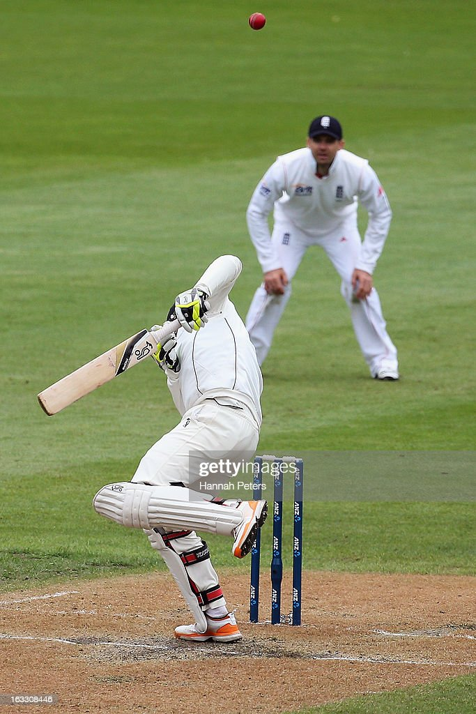 Bruce Martin of New Zealand ducks under a bouncer during day three of the First Test match between New Zealand and England at University Oval on March 8, 2013 in Dunedin, New Zealand.