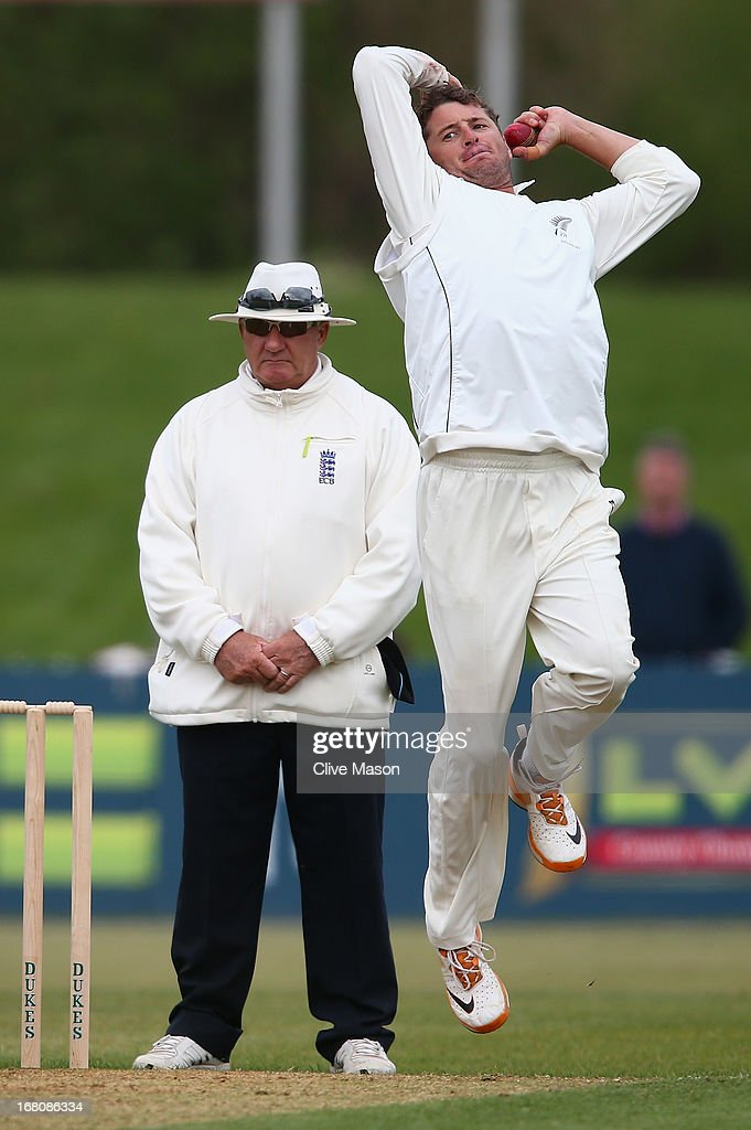 <a gi-track='captionPersonalityLinkClicked' href=/galleries/search?phrase=Bruce+Martin&family=editorial&specificpeople=226565 ng-click='$event.stopPropagation()'>Bruce Martin</a> of New Zealand in action bowling on day two of the tour match between Derbyshire and New Zealand at The County Ground on May 5, 2013 in Derby, England.