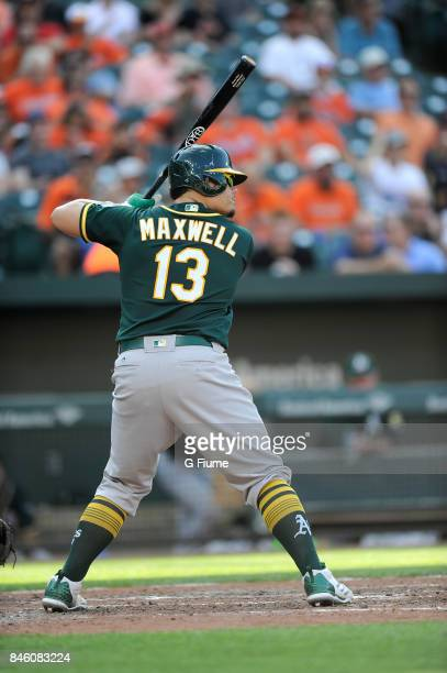 Bruce Maxwell of the Oakland Athletics bats against the Baltimore Orioles at Oriole Park at Camden Yards on August 23 2017 in Baltimore Maryland