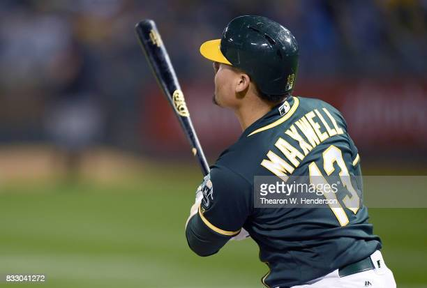 Bruce Maxwell of the Oakland Athletics bats against the Baltimore Orioles in the bottom of the eighth inning at Oakland Alameda Coliseum on August 12...