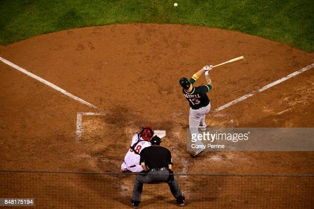 Bruce Maxwell of the Oakland Athletics connects as Jorge Alfaro of the Philadelphia Phillies catches during the ninth inning at Citizens Bank Park on...