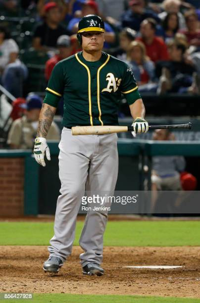 Bruce Maxwell of the Oakland Athletics looks on between pitches against the Texas Rangers during the seventh inning at Globe Life Park in Arlington...