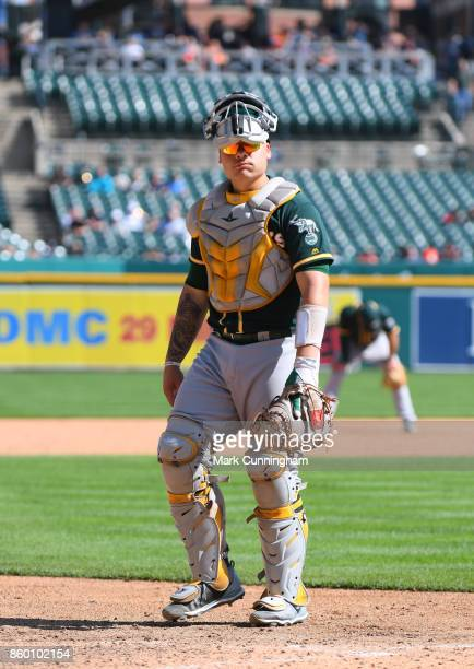 Bruce Maxwell of the Oakland Athletics looks on during the game against the Detroit Tigers at Comerica Park on September 20 2017 in Detroit Michigan...