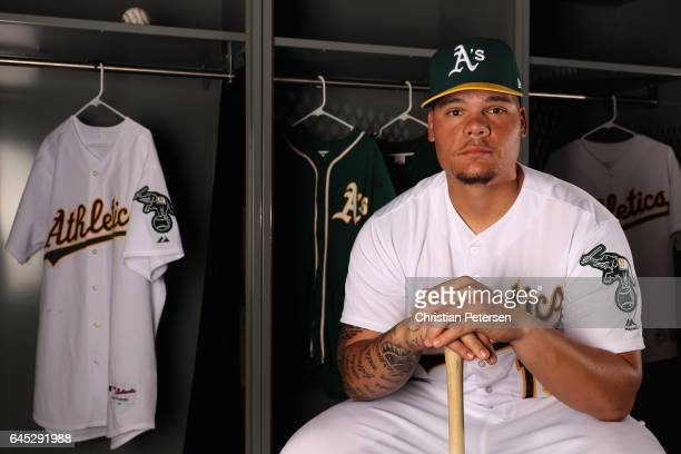 Bruce Maxwell of the Oakland Athletics poses for a portrait during photo day at HoHoKam Stadium on February 22 2017 in Mesa Arizona