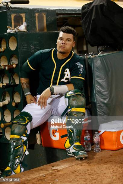 Bruce Maxwell of the Oakland Athletics sits in the dugout during the game against the Tampa Bay Rays at the Oakland Alameda Coliseum on July 17 2017...