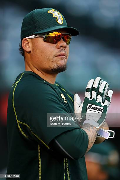 Bruce Maxwell of the Oakland Athletics warms up prior to a game against the Los Angeles Angels of Anaheim at Angel Stadium of Anaheim on September 28...