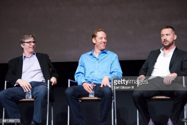 Bruce McKenna David Broyles and Barry Sloane speak onstage at the FYC Event for HISTORY's 'SIX' at Wolf Theatre on May 9 2017 in North Hollywood...