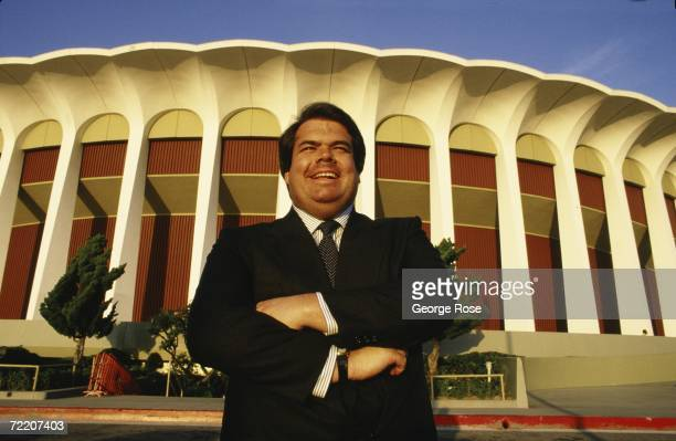 Bruce McNall poses in front of the Great Western Forum during a 1988 Inglewood California photo portrait session McNall purchased the Los Angeles...