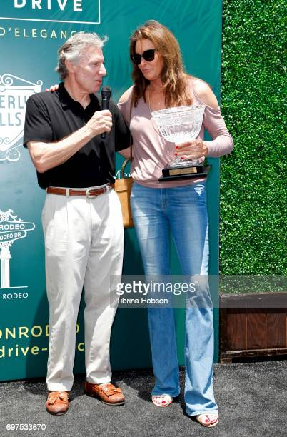Bruce Meyer presents Caitlyn Jenner with an award for 'most fashionable' car at The Rodeo Drive Concours d'Elegance on June 18 2017 in Beverly Hills...