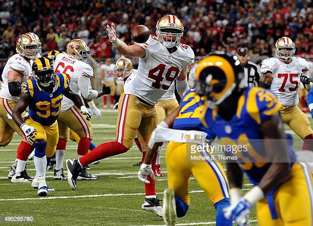Bruce Miller of the San Francisco 49ers blocks a pass in the second quarter against the St Louis Rams at the Edward Jones Dome on November 1 2015 in...