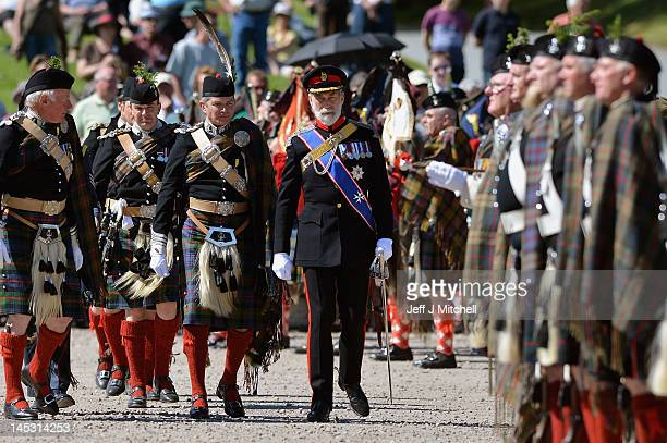 Bruce Murray the 12th Duke of Atholl and HRH Prince Michael of Kent attend the Atholl Highlanders Parade at Blair Castle on May 26 2012 in Blair...