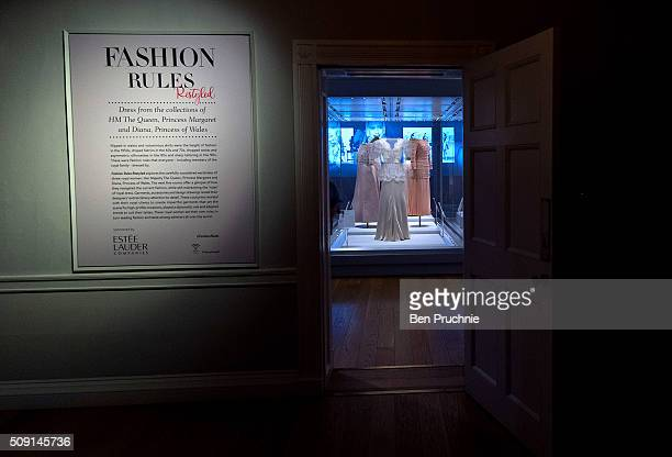 A Bruce Oldfield dress that was worn by Princess Diana is displayed at the Fashion Rules Exhibition at Kensington Palace on February 9 2016 in London...
