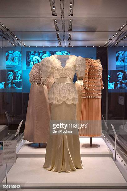 Bruce Oldfield dress that was worn by Princess Diana is displayed at the Fashion Rules Exhibition at Kensington Palace on February 9 2016 in London...