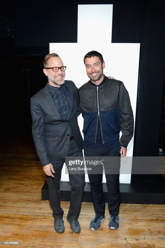 Bruce Pask (L) and Alex Badia attend the Burberry Brit Rhythm Men's Launch in New York at Irving Plaza on October 17, 2013 in New York City.