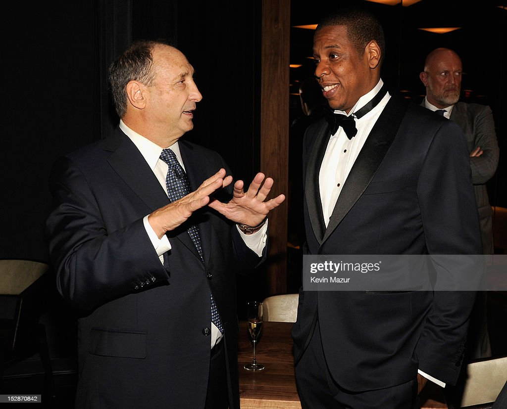 Bruce Ratner and Jay-Z attend the grand opening of the 40/40 Club at Barclays Center on September 27, 2012 in the Brooklyn borough of New York City.