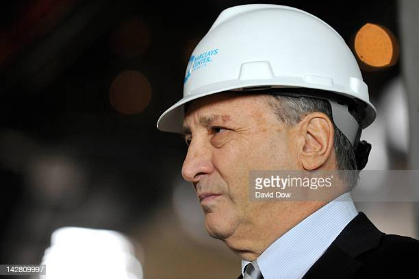 Bruce Ratner Barclays Center Developer and Majority Owner addresses the media at the Barclays Center on April 10 2012 in Brooklyn New York NOTE TO...