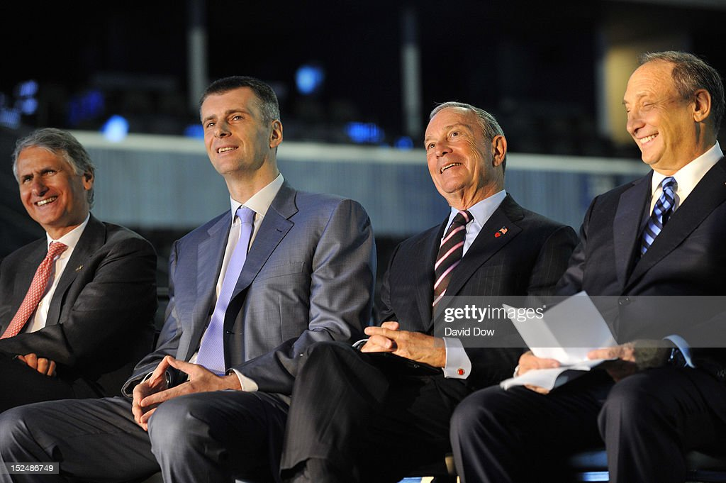Bruce Ratner, Barclays Center Developer and Majority Owner, New York City Mayor Michael Bloomberg and Mikhail Prokhorov, Brooklyn Nets Principal Owner laugh during the Barclays Center ribbon cutting ceremony on September 21, 2012 at the Barclays Center in Brooklyn, New York.