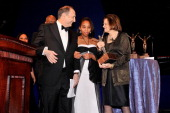 Bruce Ratner escorted by Mykel Matthews accepts an award from Betsy Gotbaum onstage at the The Jackie Robinson Foundation Annual Awards' Dinner at...