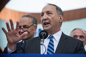 Bruce Ratner real estate mogul and minority owner of the Brooklyn Nets speaks at a press conference pitching the borough of Brooklyn to host the 2016...