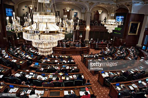 Bruce Rauner governor of Illinois delivers a budget address in the House Chamber of the State Capitol building in Springfield Illinois US on...
