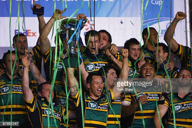 Bruce Reihana the Northampton captain holds the trophy during the European Challenge Cup Final match between Northampton Saints and Bourgoin at The...
