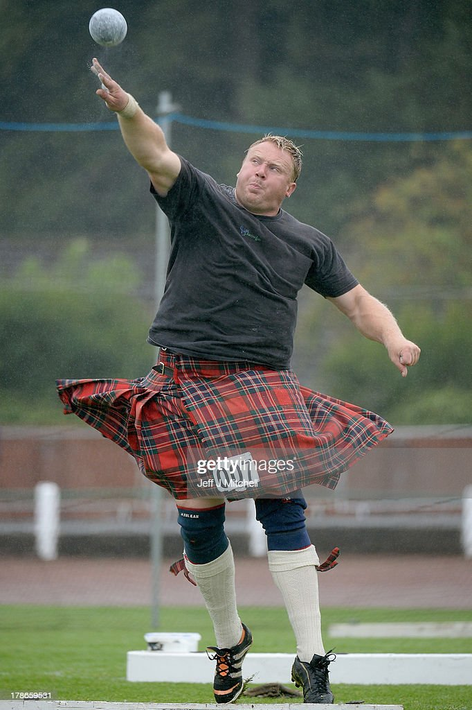 Bruce Robb from Oakley competes during the heavy event at the Cowal Highland Gathering on August 30, 2013 in Dunoon, Scotland. First held in 1894, the Cowal Games are held over three days and are one of the largest in the world attracting competitors from Canada, USA, South Africa, Australia and New Zealand.