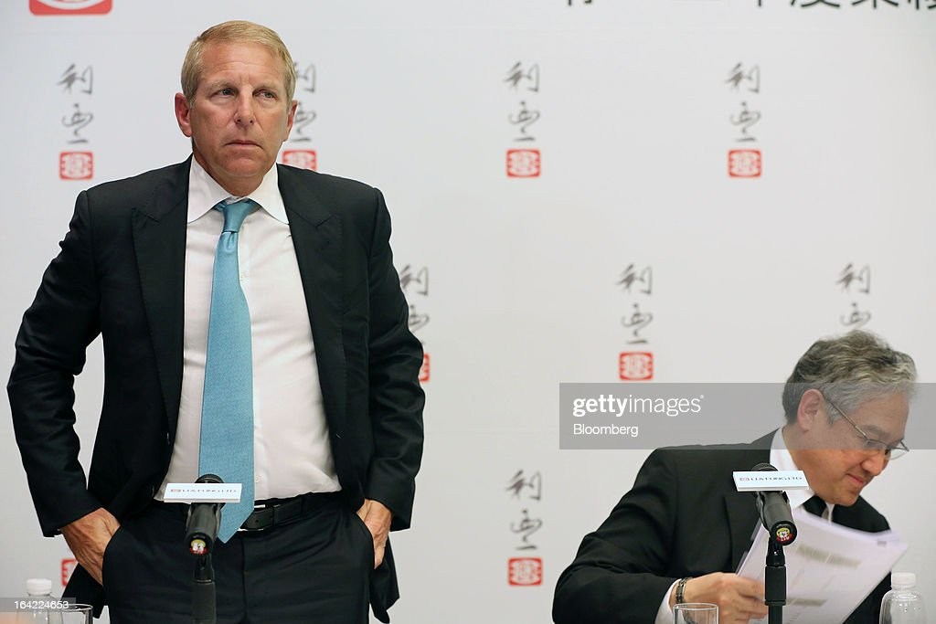 Bruce Rockowitz, chief executive officer of Li & Fung Ltd., left, and William Fung, chairman, attend a news conference in Hong Kong, China, on Thursday, March 21, 2013. Li & Fung will miss its target for profit in 2013 after net income fell for the first time in four years at the supplier to Wal-Mart Stores Inc. and Target Corp. Photographer: Jessica Hromas/Bloomberg via Getty Images