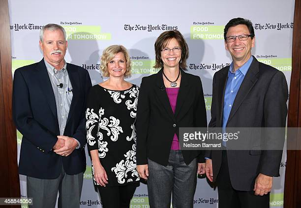 Bruce Rominger Julie Maschhoff Joan Ruskamp and Frank Sesno attend The New York Times Food For Tomorrow Conference At Stone Barns NY on November 12...
