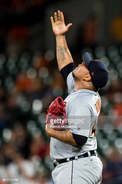Bruce Rondon of the Detroit Tigers celebrates after the Tigers defeated the Baltimore Orioles 52 at Oriole Park at Camden Yards on August 4 2017 in...