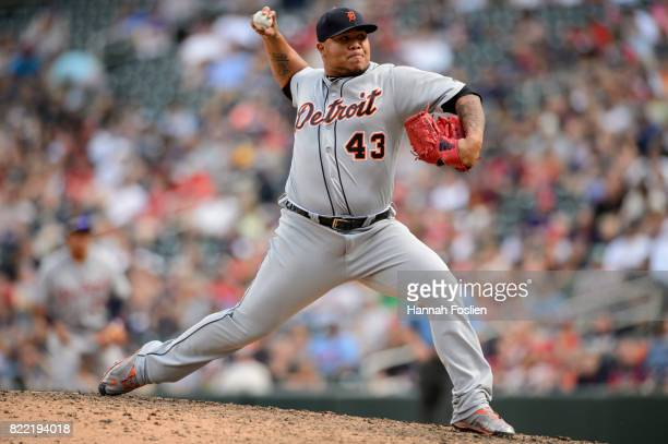 Bruce Rondon of the Detroit Tigers delivers a pitch against the Minnesota Twins during the game on July 23 2017 at Target Field in Minneapolis...