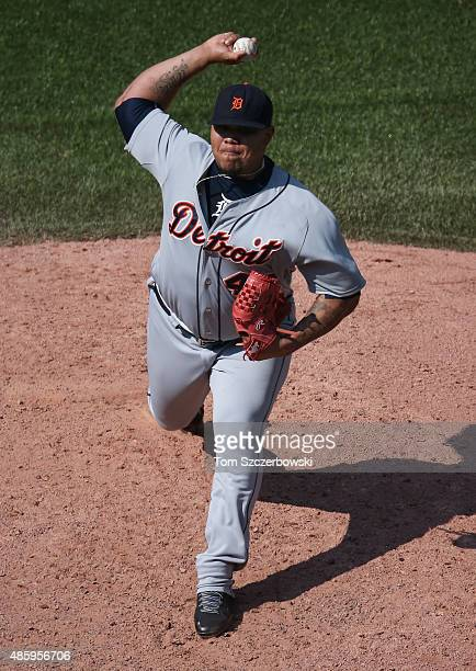 Bruce Rondon of the Detroit Tigers delivers a pitch in the eighth inning during MLB game action against the Toronto Blue Jays on August 30 2015 at...