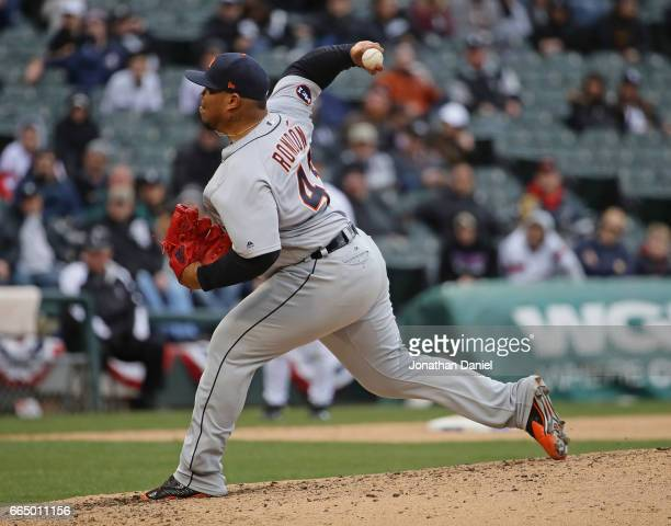 Bruce Rondon of the Detroit Tigers pitches against the Chicago White Sox during the opening day game at Guaranteed Rate Field on April 4 2017 in...