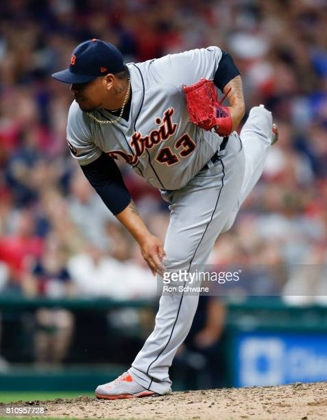 Bruce Rondon of the Detroit Tigers pitches against the Cleveland Indians during the eighth inning at Progressive Field on July 8 2017 in Cleveland...