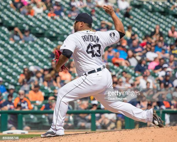 Bruce Rondon of the Detroit Tigers pitches against the Pittsburgh Pirates during a MLB game at Comerica Park on August 10 2017 in Detroit Michigan...