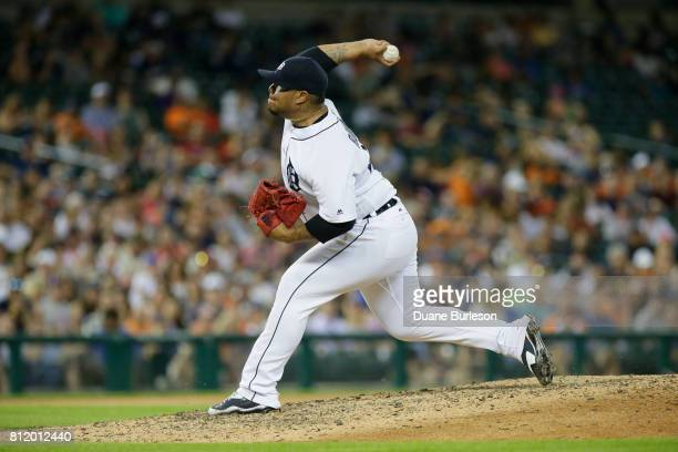 Bruce Rondon of the Detroit Tigers pitches against the San Francisco Giants at Comerica Park on July 5 2017 in Detroit Michigan