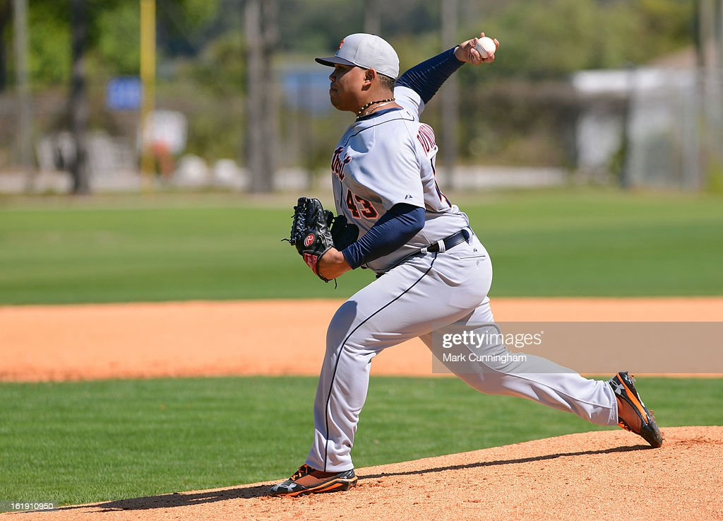 Bruce Rondon #43 of the Detroit Tigers pitches during Spring Training workouts at the TigerTown Facility on February 17, 2013 in Lakeland, Florida.