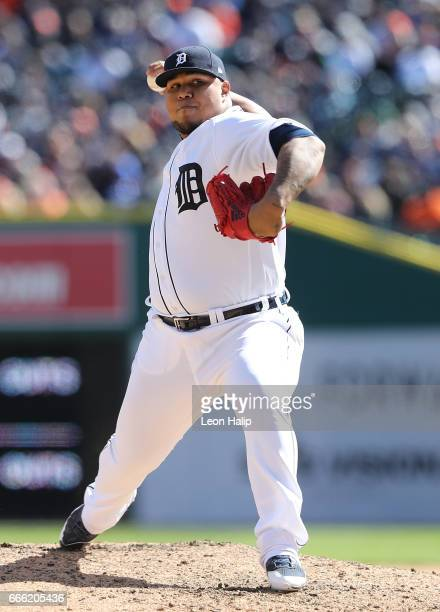 Bruce Rondon of the Detroit Tigers pitches during the eight inning of the opening day game against the Boston Red Sox on April 7 2017 at Comerica...
