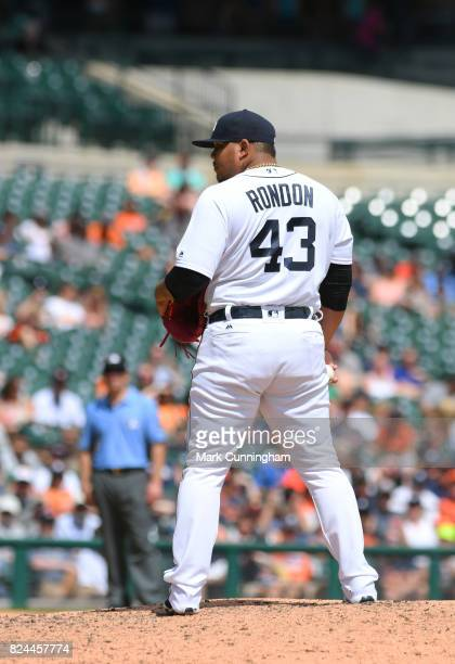 Bruce Rondon of the Detroit Tigers pitches during the game against the San Francisco Giants at Comerica Park on July 6 2017 in Detroit Michigan The...