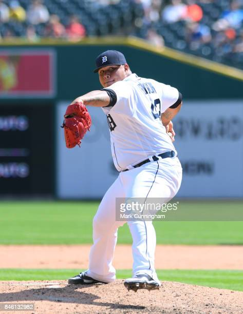 Bruce Rondon of the Detroit Tigers pitches during the game against the Pittsburgh Pirates at Comerica Park on August 10 2017 in Detroit Michigan The...