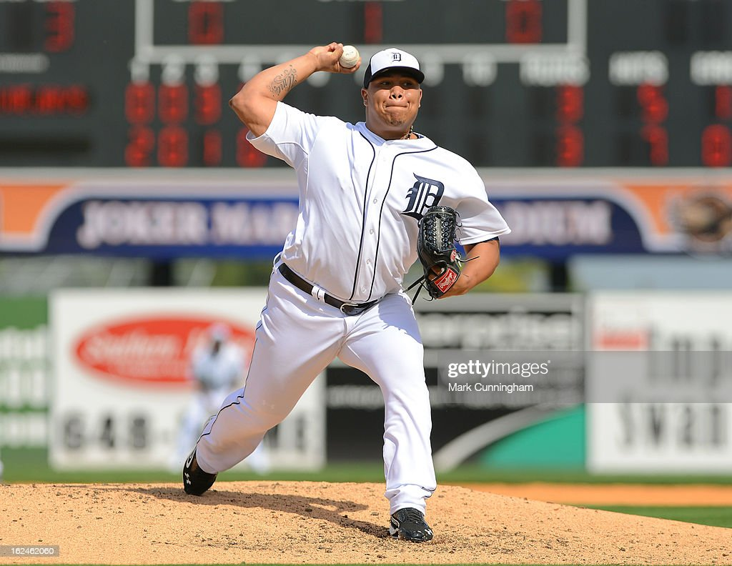 Bruce Rondon #43 of the Detroit Tigers pitches during the spring training game against the Toronto Blue Jays at Joker Marchant Stadium on February 23, 2013 in Lakeland, Florida. The Blue Jays defeated the Tigers 10-3.