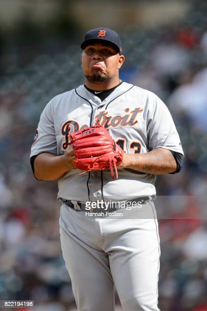Bruce Rondon of the Detroit Tigers reacts during the game against the Minnesota Twins on July 23 2017 at Target Field in Minneapolis Minnesota The...