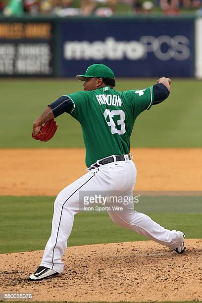 Bruce Rondon of the Tigers during the spring training game between the Minnesota Twins and the Baltimore Orioles at Ed Smith Stadium in Sarasota...