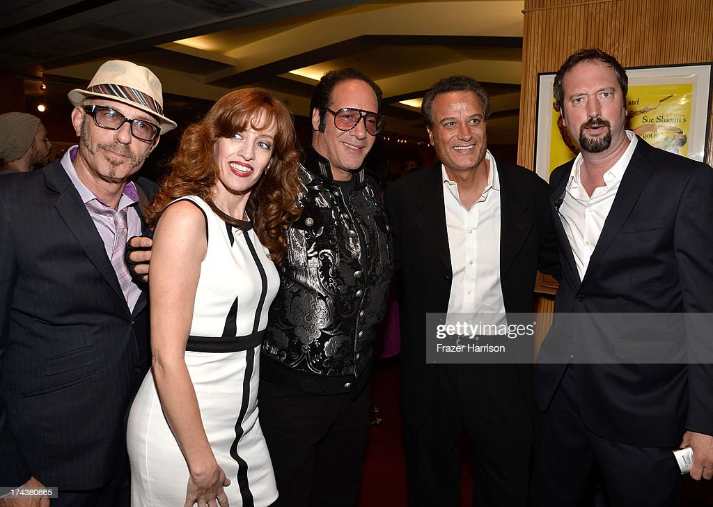 Bruce Rubenstein, Eleanor Kerrigan, actor/comedian <a gi-track='captionPersonalityLinkClicked' href=/galleries/search?phrase=Andrew+Dice+Clay&family=editorial&specificpeople=678985 ng-click='$event.stopPropagation()'>Andrew Dice Clay</a>, Tommy Habeeb and actor/comedian <a gi-track='captionPersonalityLinkClicked' href=/galleries/search?phrase=Tom+Green&family=editorial&specificpeople=208982 ng-click='$event.stopPropagation()'>Tom Green</a> attend the after party for the premiere of 'Blue Jasmine' hosted by AFI & Sony Picture Classics at AMPAS Samuel Goldwyn Theater on July 24, 2013 in Beverly Hills, California.